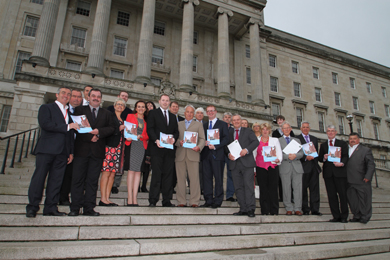 Down District politcal representatives, Down District Council officials and local business people at the launch of the jobs brochure at Stormont.