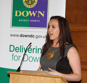 Down District Council Chairperson Councillor Maria McCarthy speaking at the launch of the jobs brochure at Stormont,