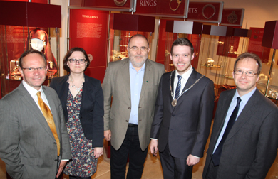 At the opening of the exhibition were Chris Bailey, Director of the Northern Ireland Museums Council, Anna Godlewska, Deputy Director, Polish Cultural Institute, Wojciech Brzezinski, Director of the Polish State Archaelogical Museum, Down District Council Vice Chairman Councillor Gareth Sharvin, and Mike King, Down County Museum Curator.