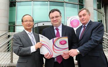at the launch of the Third International Symposium on Expertise in Sustainable Society hosted by SERC are Employment and Learning Minister, Dr Stephen Farry, SERC Principal and Chief Executive Mr Ken Webb and Prof Sotomi Ishihara President of Toyama National College of Technology, Japan