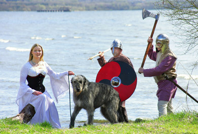 Looking forward to a historic weekend at Shanes Castle: Medieval maiden Ingrid Houwers seeks the protection of her wolfhound, Hal, from Living History Ireland's Viking re-enactors Steven Green and George Logan
