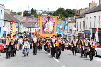 Barnamaghery LOL 11 from Saintfield marching up to the Square in Ballynahinch