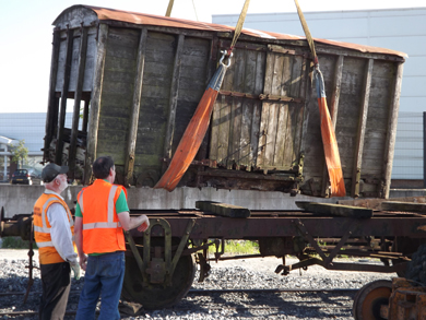 A rail wagon is moved to Downpatrick after lying in Dromara fro 60 years.