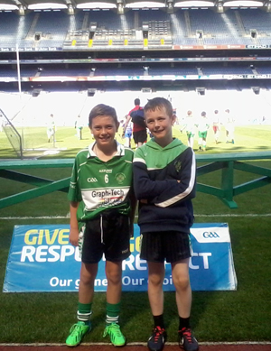 Aughlisnafin U12s Players Ruari King and Cathal Murphy at Down GAA Activties Day in Croke Park