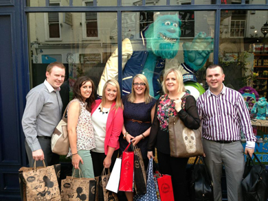 The Downpatrick Eclipse management team pictured outside the Disney shop in Grafton Street in Dublin during a recent visit.