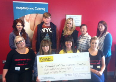 Downpatrick Hospitality and Catering Students have raised funs for the Friends of the Cancer Centre.
