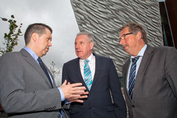 NIIRTA CEO Glynn Roberts with  Shadow Secretary of State for Northern Ireland Vernon Coaker MP and the Finance Minister Sammy Wilson MP