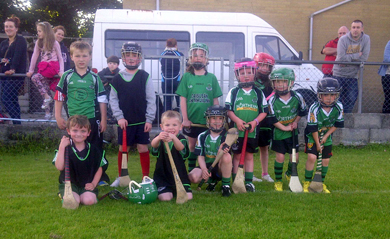The Under-6 Castlewellan hurlers who entertained the crowd during the seniors match between