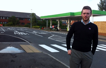 Councillor Gareth Sharvin looks over the improvements to road safety at the Downe Retail Park.