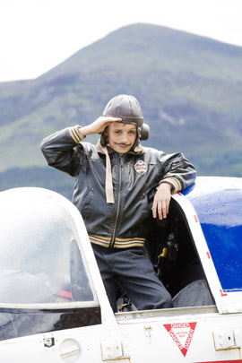 'Biggles' aka Alexander Truesdale ( 9) from Newcastle  is ready to take off for another spectacular B/E Aerospace Festival of Flight.