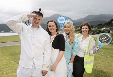 Getting ready to land at this year's B/E Aerospace Festival of Flight are (L-R)  Michael Nugent, representing Newcastle Chamber of Commerce, Councillor Maria McCarthy, Chairman of Down District Council, Laura McQuade and Deborah Harris, Public Relations Manager, Belfast International Airport.