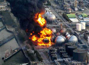 The scene at the Fukushima nuclear reactor that caused an international nuclear alert.