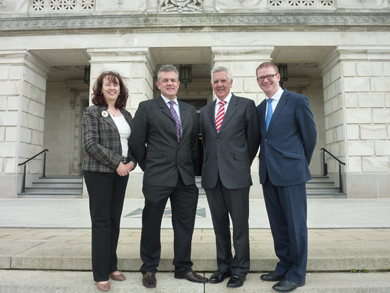 Pictured folowing the meeting at Stormont are (left to right) Brenda Maitland and Paul McGeown, Saintfield Development Association; John Dumigan, Down District Council Chief Executive and Strangford MLA Simon Hamilton.