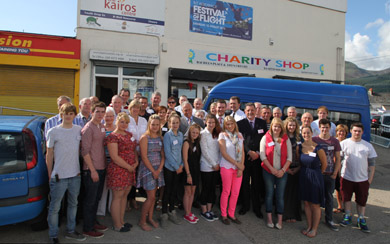 Staff and volunteers and public represnetatives pictured at the Kairos centre with the Pride of Place judges.