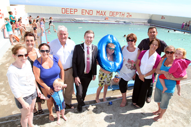 Down District Council Vice Chairman Councillor Gareth Sharvin with Newcastle Councillors Carmel O'Boyle, Eamonn O'Neill and Wilie Clarke and Friends of the Rock Pool celebrate its eightieth year in Newcastle.