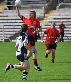 Action in the match between the Down Ladies and Sligo at Clones.