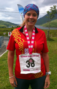 Cathy Degan with medal after completing the Gaelforce Women's Adventure