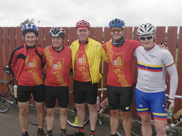 Joe Quinn, Michael Degan, Paul Rogan, Gavin Oakes and Tom McClean before Sunday's Hilly Leisure cycle.