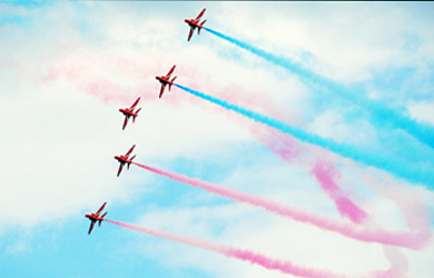 The Red Arrows in action over Newcastle during the Festival of Flight.