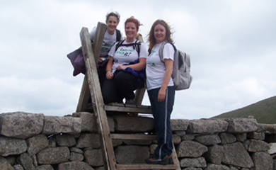 HACK team members Clare Galbraith, Elizabeth Whiteside and Katherine Keenan test out their walking shoes on their annual HACK recce. The HACK is on 14 September with 14 or 20 mile routes available.