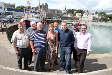 MEP Martina Anderson, centre,  pictured in Ardglass with boat owners Tom Wills, Willie Kyle, Robert Palmer, skipper Martin Rice, South Down MLA Chris Hazzard, Stephen Kearney, skipper/boat owner and Councillor Liam Johnston.