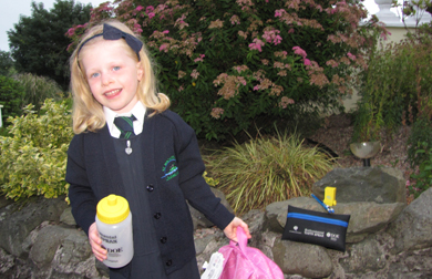 Anna Magorrian from Loughinisland's St Macartan's Primary School  getting into reuse and recycle at the start of term.