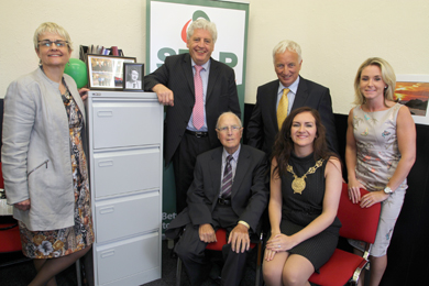 At the offical opening of the SDLP constituency office in Newcastle were South Down MP Margaret Ritchie, Dr Alasdait MvDonnell, Party Leader, former South Down MP Eddie McGrady, Seán Rogers MLA, Councillor Marie McCarthy, Down District Council Chairman, and Laura Devlin, Office Manager.