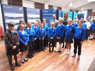Pupils from St Nicholas' Primary School, Ardglass, along with Vice Principal Paul Gilchrist attended the Information Day at Ardglass Golf Club and met Victoria McCabe from First Flight Wind