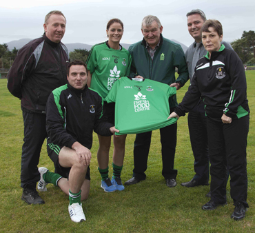 The presentation of the Ladies new Shirts (would like to have this one in) left to right Jim Burns (manager), Niall McArdle (assistant manager), Lisa Morgan, Martin O'Higgins From The Fresh Food Centre, Cillian Keaveney and Geraldine McKibbe