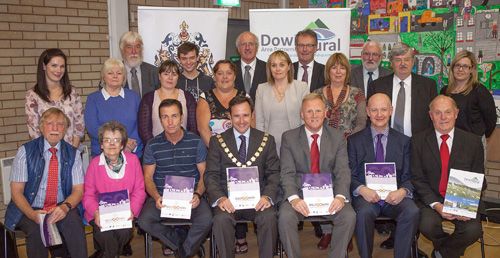 Ballygowan and District Community Association members with local Ards Borough officials and Strangford politicians at the launch of the action plan.