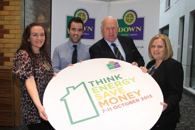 Promoting the Think Energy Save Money campaign are Down District Council Chair, Councillor Marie McCarthy, Ciaran Og Mussen, Cllr Dessie Patterson, Building and Estates Committee Chairman, and Council Building and Estates Director Marie Ward.