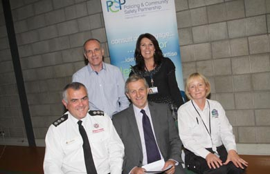 At the Down PCSP meeting in the Bridge Centre in Kilyleagh were back rowm Paul Fitzimons, SEELB Youth Leader in Charge, Bronagh Magorrian, NIHE Housing Officer, and fron row, JJ McAllister, NI FRS District Commander, Councillor William Dick, Down PCSP Deputy Chairman, and Eleanor McCartney, Down Council Enforcement Officer.