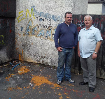 Councillor Liam Johnston with a resident at Glebetown Drive in Downpatrick who has experienced anti-social behaviour.