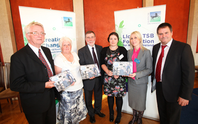 Stanley Tomkins (Kilkeel Parish Bridge Association), Avril Johnston (Cloughskelt Rural and Cultural Association), Social Development Minister, Nelson McCausland,. Emma Trimble (Cloughskelt Rural and Cultural Association), Lloyds TSB Foundation Trustee, Janine Donnelly and Ivan Henderson (Kilkeel Parish Bridge Association).