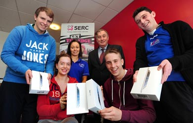 GET THE EDGE: SERC Sports, Exercise and Fitness students from Downpatrick were delighted to be crowned the overall 'Get the Edge' challenge champions, each picking up an iPad. The students are pictured with SERC Principal and Chief Executive Ken Webb with tutor Aurla McLoughlin