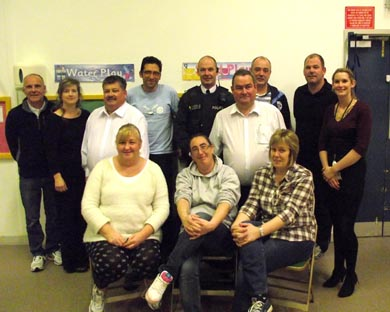 Members of the Down PCSP, Neighbourhood Police, local councillors and Killyleagh residents pictured before their recent meeting in the Bridge Centre.