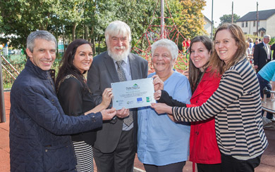 At the launch of the new play area in Saintfield were Nicholas McCrickard, Manager  for the County Down Rural Community Network, Cllr Maria McCarthy , Chair Down District Council,  David Kerr, Chair Local Action Group, Down Rural Area Partnership Susan Welsh, Chairperson Saintfield Community Estates Partnership, Janine Connolly, Rural Development Officer County Down Rural Community Network, Marguerite Osborne, Programme Manager Down Rural Area Partnership.