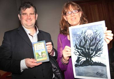 Author Steve Lally with Down County Museum Education Officer Linda McKenna pictured at the launch of 'Down Folk Tales'.