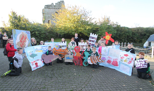 St Mary's Primary School Portaferry join in the community campaign to Save Exploris.