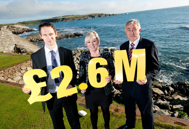 Kevin McGarry, Sea-FLAG programme manager, Fisheries Minister Michele O'Neill and Councillor John Burns, SEA_FLAG Chairman at the offical launch of the EU funded AXIS 3 programme in support if the fishing communities in Northern Ireland.