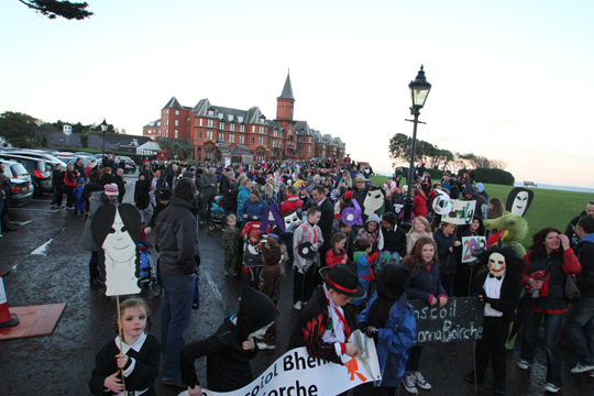 The Hallowtides parade assembles in front of the Slieve Donard and Spa in Newcastle.