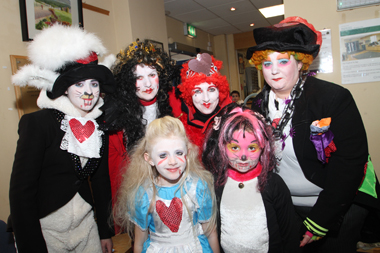 Mad hatters. Antonia O'Goan, Veronica McVeigh, Paula O'Goan, Sarah Taggert, with, front row, Aoise O'Goan and Lara McVeigh.
