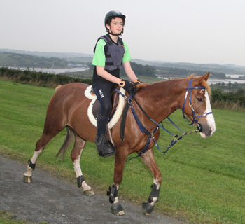 Jacob Morrow (13) riding Tambo at Delamont Country Park.