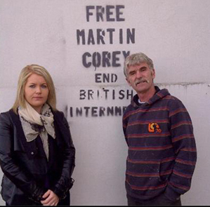 Noimi Bailie, Sinn Féin election candidate and Cllr Eamonn Mac Con Midhe, pictured in Downpatrick.
