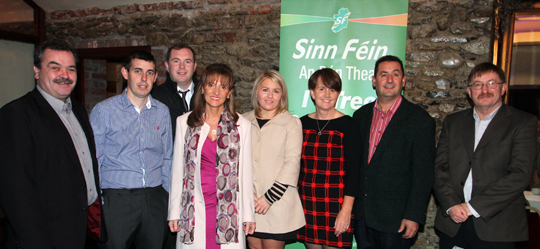 Martina Anderson, fourth left, pictured with political representatives of Sinn Féin.