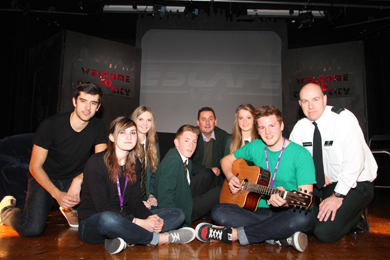 At the Down High School before the performance were pupils Laura Cranston, John McCoubrey and Emma Leahy, PCSP Chairman Councillor Willie Clarke, Sergeant Ian Young, C District Service delivery, and members of the Saltmine Trust cast.