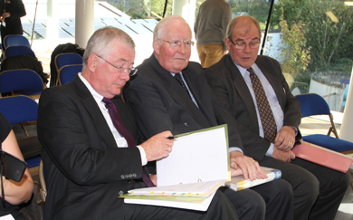 Members of Portaferry Regeneration get ready for their presentation to the  Enterprise Committee. From right, Dough Edmondson, Chairman, with Directors John Herlihy and David Russell.