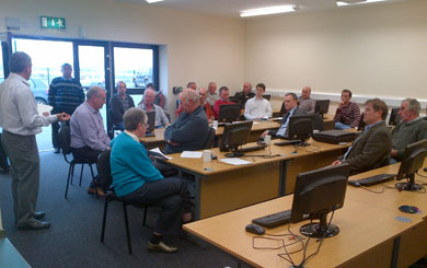 Members of ADA and local farmers pictured at a recent meeting in the Ballyhornan Family Centre computer suite.