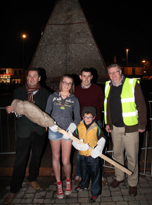 Fire lighters Senan Cunningham and Wyictoria Worcaska pictured with PCSP Chairman Cllr Willie Clarke, Cllr Stephen Burns and Felix Mooney of the Castlewellan Collective.