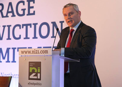 John McCallister MLA, deputy leader of NI21, speaking at the inaugural conference in the Europa Hotel.